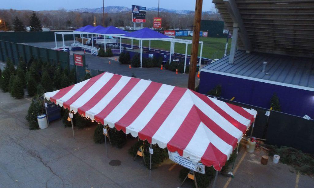 Christmas tree sales tent