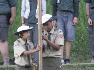 Flag ceremony at scout camp